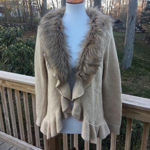 Chico's sweater with faux fur